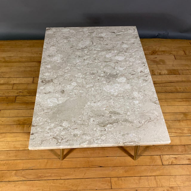 Gold Mid-Century Travertine and Brass Coffee Table, Usa For Sale - Image 8 of 10