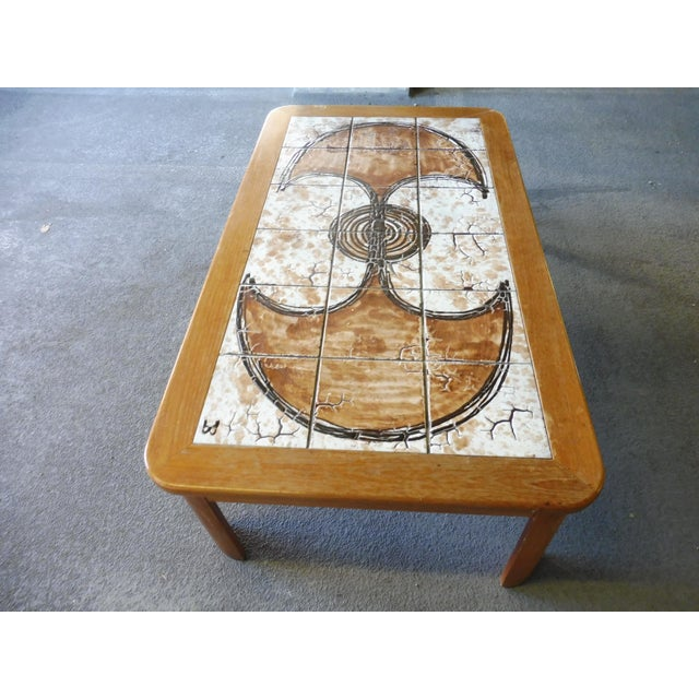 70's Abstract Painted Tile Top Danish Modern Coffee Table Signed For Sale - Image 4 of 11