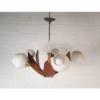 Gorgeous Mid-century Modern Teak Hanging Chandelier Preview
