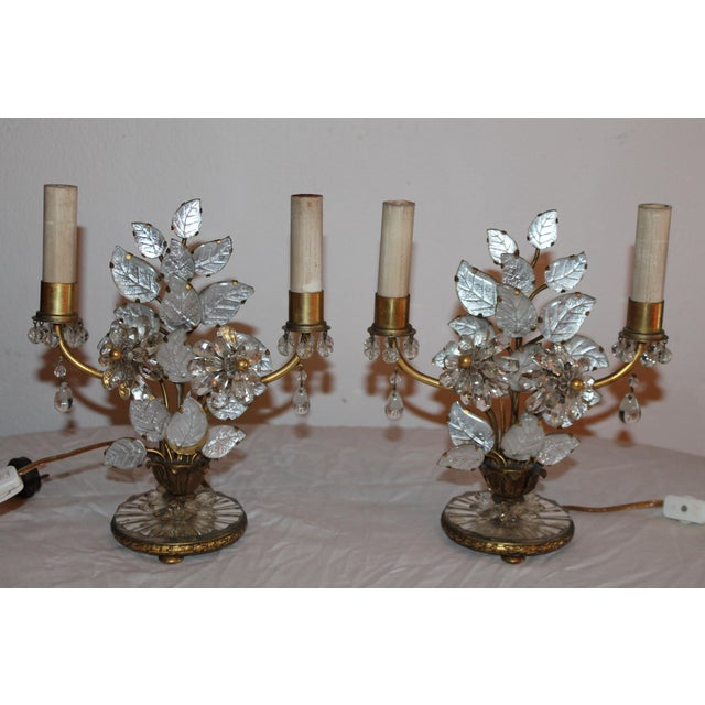 1930s Maison Bagues French Art Deco Cut Crystal Flowers Table Lamps - a Pair For Sale - Image 12 of 13