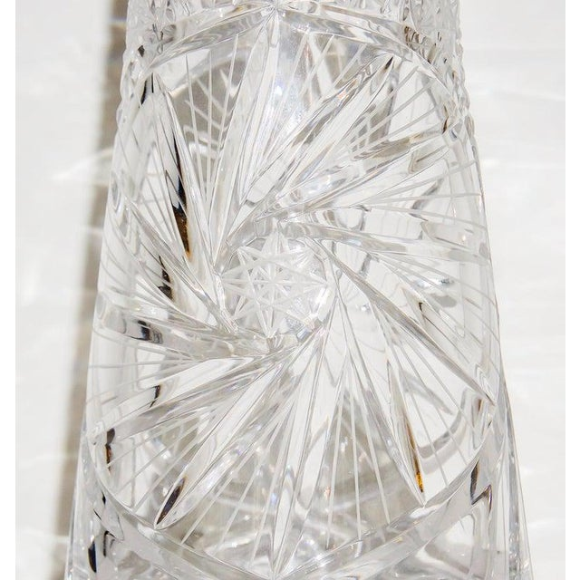 Shabby Chic Vintage Slender Cut Lead Crystal Decanter For Sale - Image 3 of 11