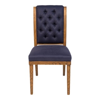 Sarreid Ltd. Dark Blue Tufted Upholstered Kate Side / Dining Chairs - Set of 2 For Sale