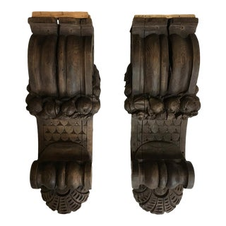 Early 20th Century Antique Carved Corbels - a Pair For Sale