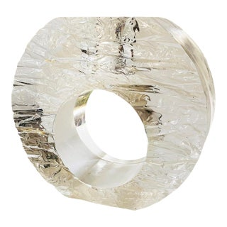 Vintage Textured Circular Lucite Candle Holder For Sale