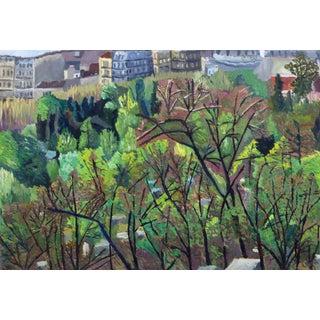 French Oil Landscape - City Park For Sale
