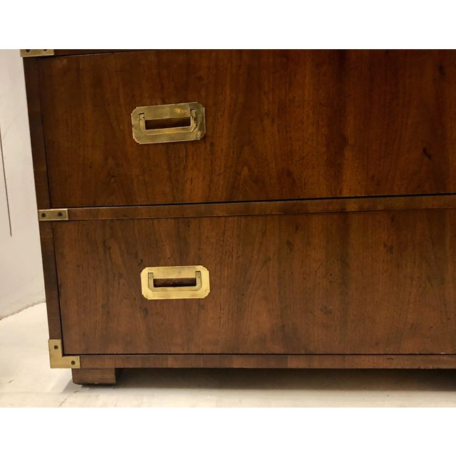 1970s Henredon Campaign Style Chest of Drawers / Credenza For Sale - Image 5 of 7