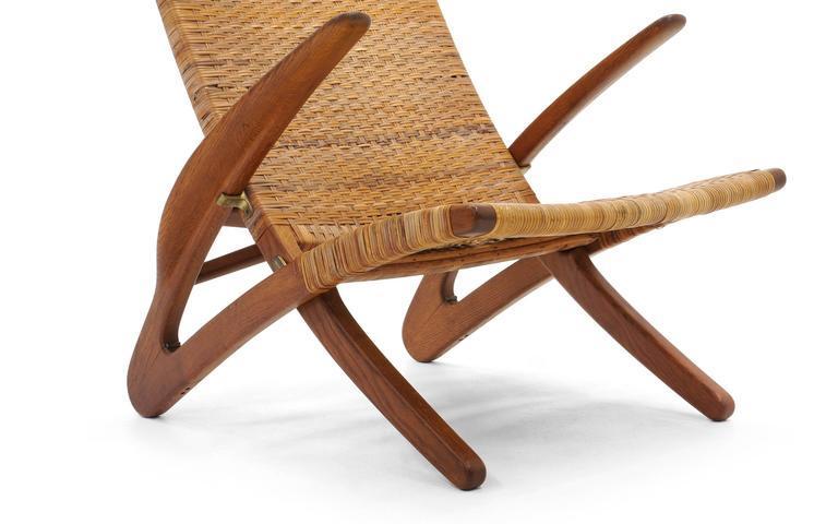 Rare Hans Wegner Dolphin Folding Lounge Chair Johannes Hansen, Denmark,  1950 For Sale In