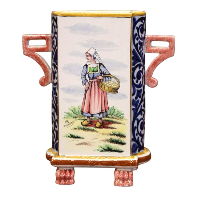 Early 20th Century French Hand-painted Faience Vase Signed Hb Quimper For Sale