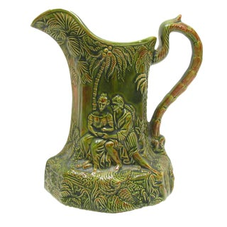 Vintage European Majolica Pitcher For Sale