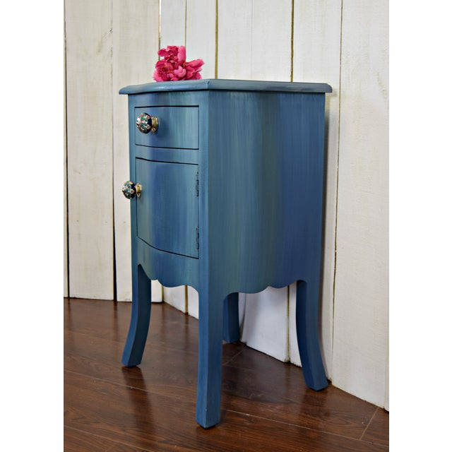 Small Bohemian Blue Painted Cabinet For Sale - Image 4 of 6