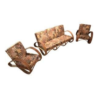 Mid Century Boho Wicker Rattan Settee Sofa & Chairs - Set of 3 For Sale