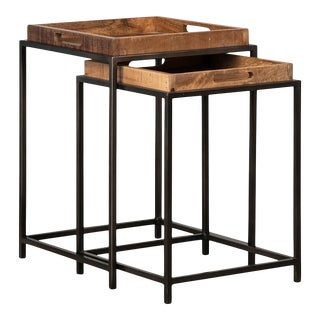 Salvaged Wood Tray Nesting Tables For Sale