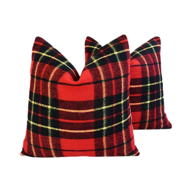"Scottish Tartan Plaid Wool Feather/Down Pillows 24"" Square - Pair For Sale"