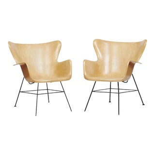 Mid-Century Modern Lawrence Peabody Wingback Chairs - A Pair