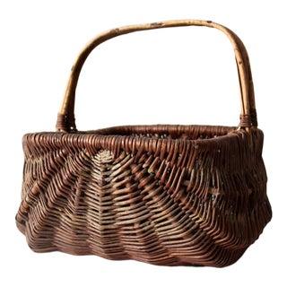 Vintage Wicker Harvest Basket For Sale