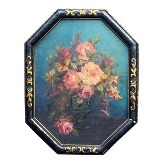 Original Floral Oil Painting Signed T. Klemm - c.1920s For Sale