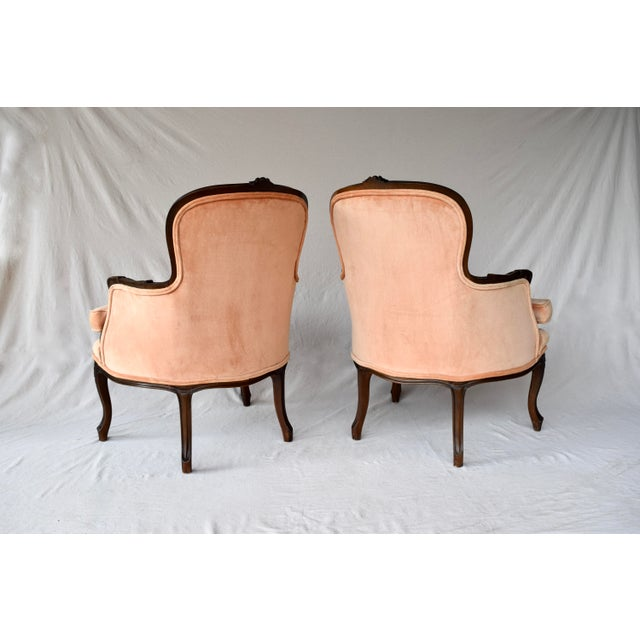 Pair of Louis XV Carved Walnut Bergere Chairs For Sale - Image 9 of 12