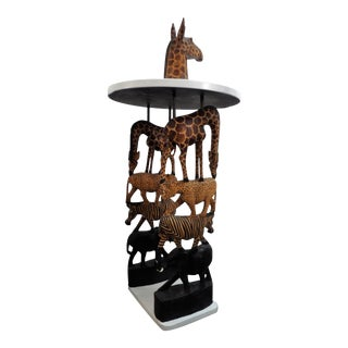African Safari Style Stacked Carved Animal Accent Side Table For Sale
