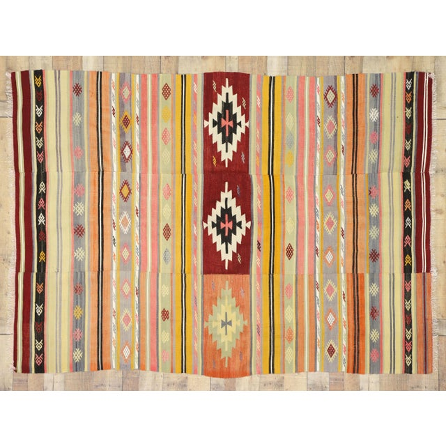 Red Vintage Mid-Century Southwestern Inspired Turkish Kilim Rug - 5′7″ × 7′8″ For Sale - Image 8 of 9