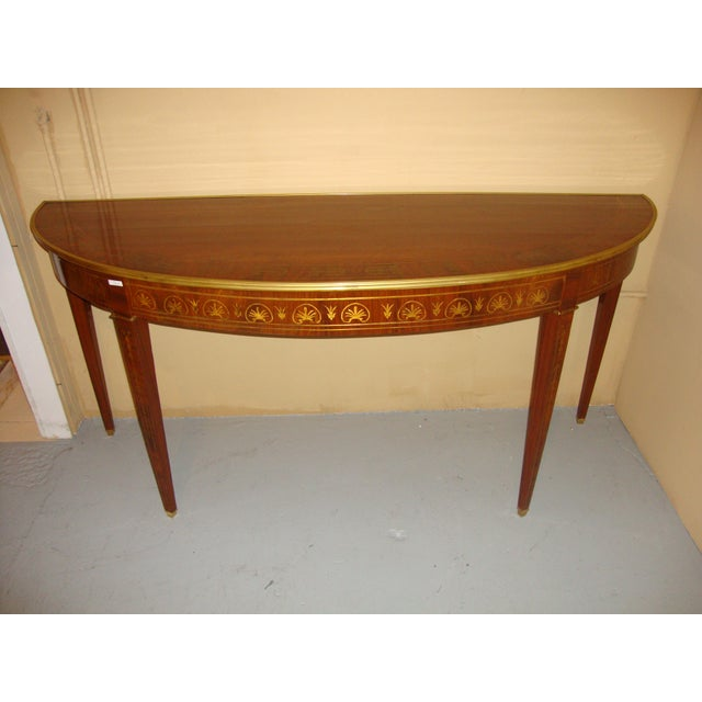Boule Inlaid Demilune Console Tables - A Pair For Sale - Image 9 of 11