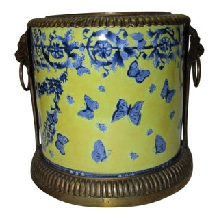Large Rich Yellow and Cobalt Ceramic Urn