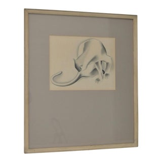 1930s Art Deco Drawing of a Cat For Sale
