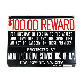 Vintage $100 Theft Reward Merit Protective Service Nyc Sign For Sale