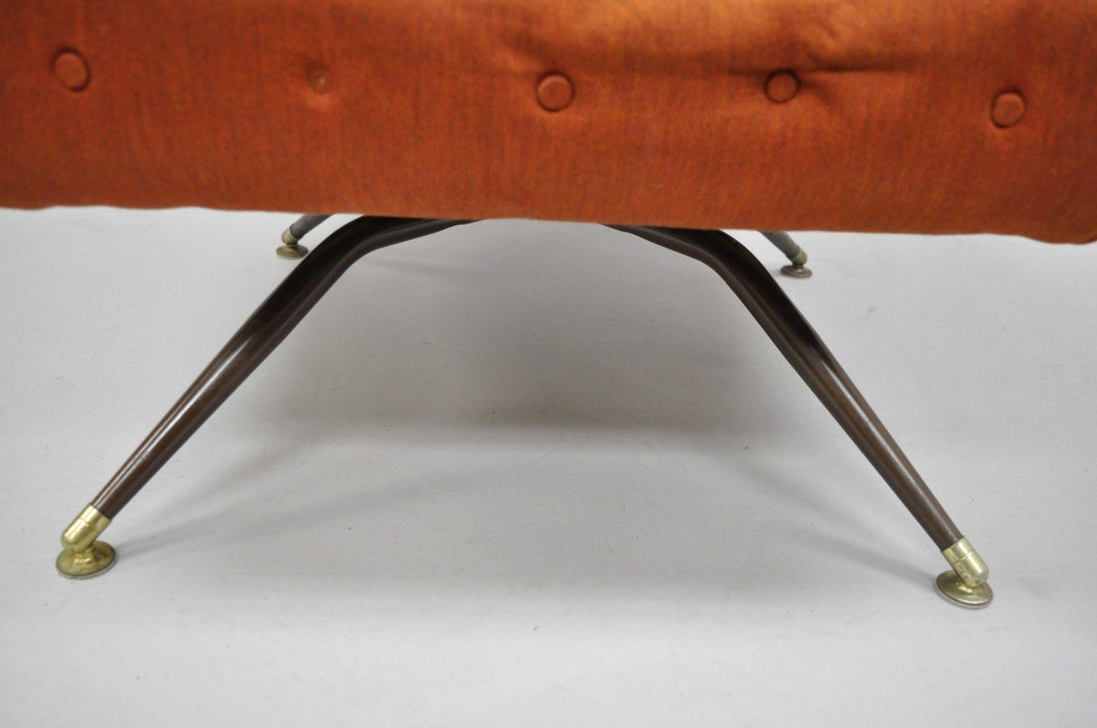 Vintage Mid Century Modern Mak Kraft Of Michigan Orange Fabric Swivel  Lounge Chair   Image 8