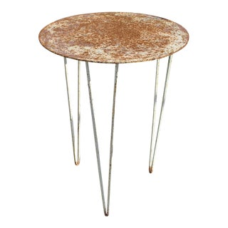 Vintage Metal Outdoor Side Table For Sale