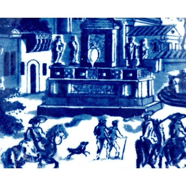 Late 19th Century Late 19th Century Ironstone Blue and White Town Scene Plate For Sale - Image 5 of 10