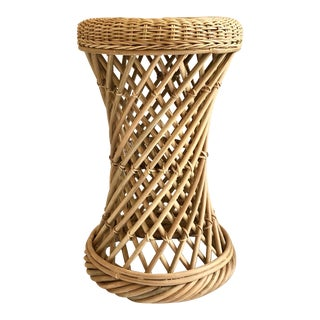 Blue Carreon Home Rattan and Wicker Stool For Sale