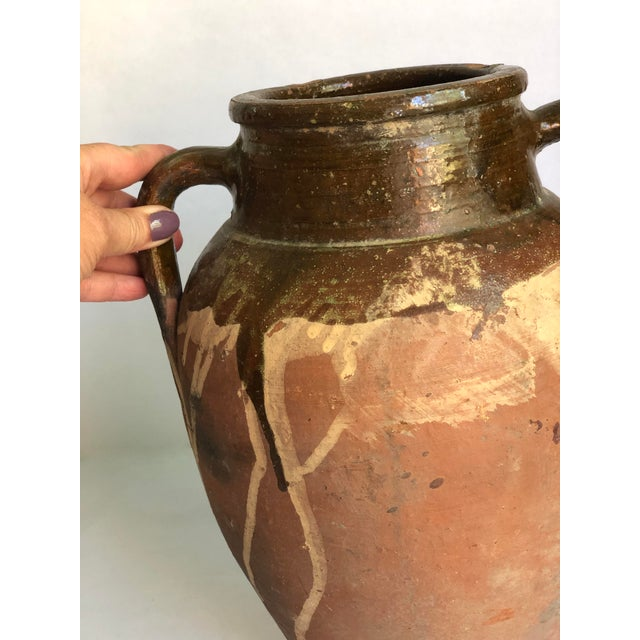 Brown Vintage Turkish Natural Terracotta Jar With Brown Glaze For Sale - Image 8 of 13