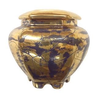 Hollywood Regency Royal Blue Gilt Ceramic Jar