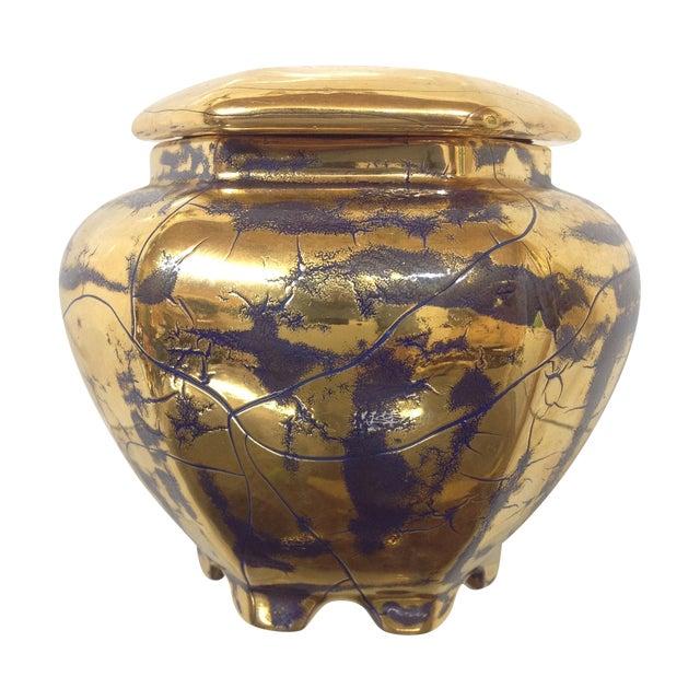 Hollywood Regency Royal Blue Gilt Ceramic Jar For Sale
