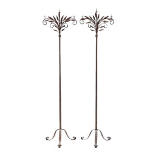 19th Century American Iron Torchieres - a Pair For Sale
