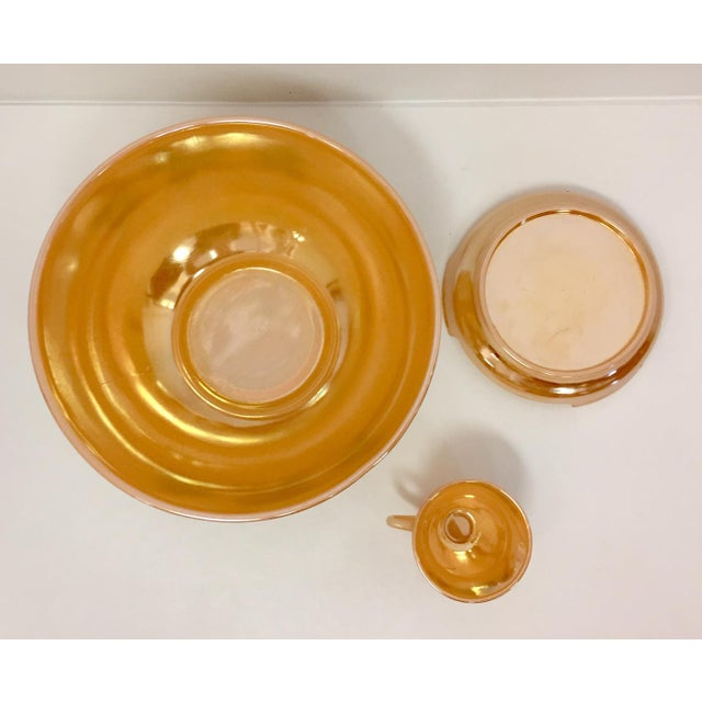 1960s Anchor Glass Peach Luster Nostalgia Punch Serving - Set of 12 For Sale - Image 10 of 11