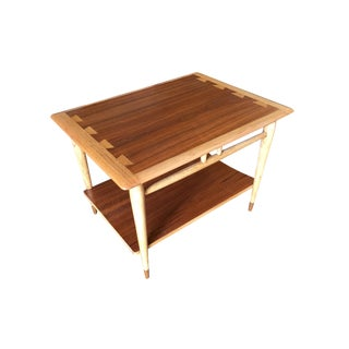 Walnut and Ash Inlay Two Tier Side Table by Lane For Sale