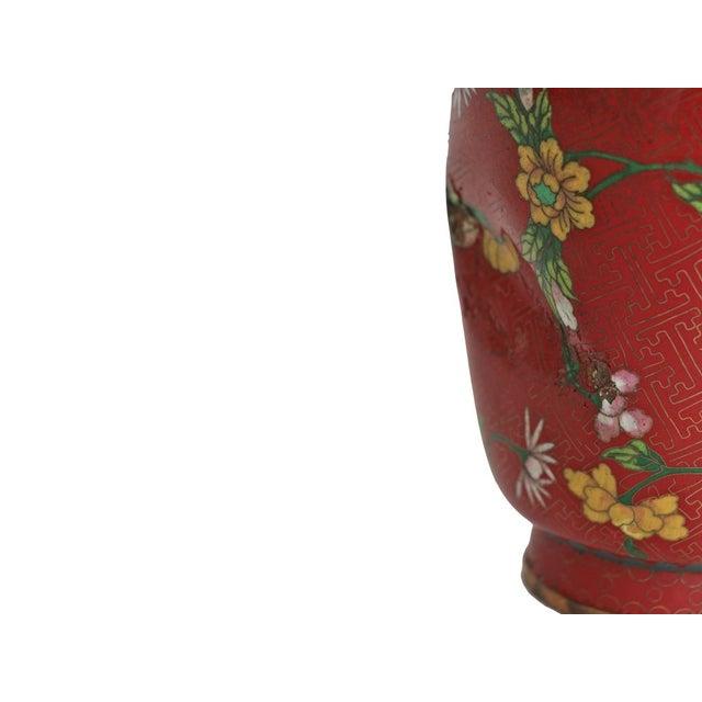 Large Red Cloisonne Vase - Image 4 of 5