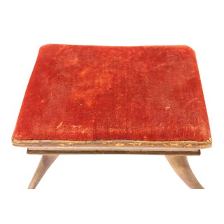 Early 20th C. Antique Velvet and Horn Footstool For Sale