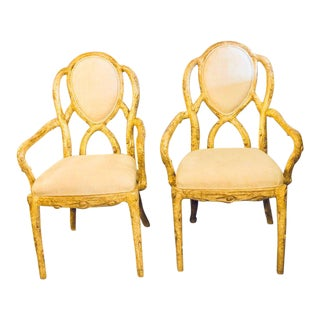 Hollywood Regency Style Tree Trunk Form Designed Arm / Desk Chairs - a Pair For Sale