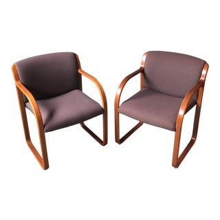 Contemporary Steelcase Bentwood Upholstered Chairs - a Pair