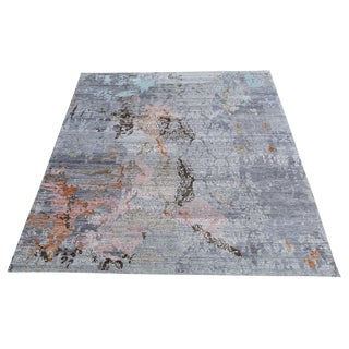 "Modern Transitional Hand-Knotted Gray Pink Blue Bamboo Silk and Wool Rug - 9'1""x11'8"" For Sale"