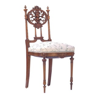 19th C. French Walnut Side Chair For Sale