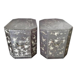 19th Century Vintage Chinoiserie Lacquer Boxes- A Pair For Sale