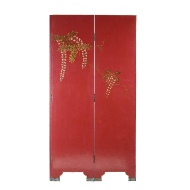Metal Double-Sided Leather Burgundy Red Wisteria Scene Room Divider Screen by Lawrence & Scott For Sale - Image 7 of 13