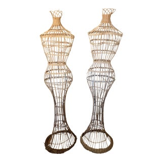 Vintage Wicker Mannequins- a Pair For Sale