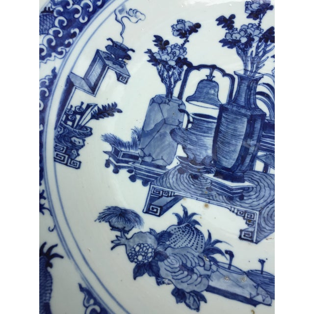 Asian 1970's Chinoiserie Blue China Platter Charger For Sale - Image 3 of 7