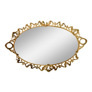 Brass Ormolu Mirrored Tray For Sale