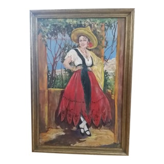 Antique South American Woman Portrait Oil on Board Painting For Sale