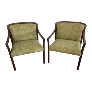 Mid-Century Green Office Chairs - A Pair For Sale
